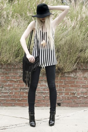 brandy melville top - Helmut Lang jeans - Hat Attack hat - VANESSA BRUNO purse