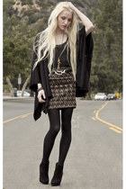 camel LF skirt - Barneys New York boots - DKNY tights - silver vintage belt