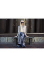 Thrift-store-scarf-mosely-tribes-sunglasses-vince-blouse-romwe-skirt