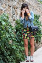 yellow Topshop dress - sky blue jeans Levis jacket - black Chanel bag
