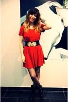 black Marc Jacobs boots - red Myshowroom dress - gold vintage belt