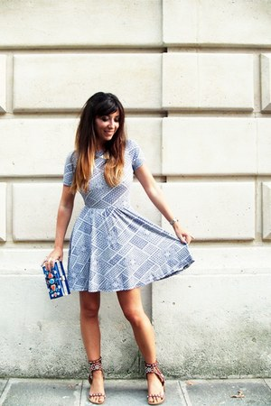 blue Topshop bag - light blue asos dress - brown Isabel Marant sandals