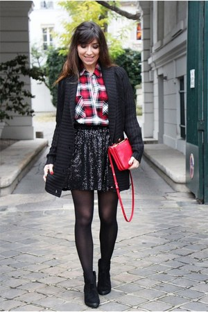 black ASH boots - gray MonShowroom coat - red Pimkie shirt - red Celine bag