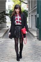 black ASH boots - gray MonShowroom coat - red Pimkie shirt - red Celine bag
