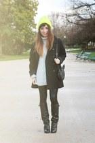 black Givenchy boots - yellow Eugenia Kim hat - black asos leggings