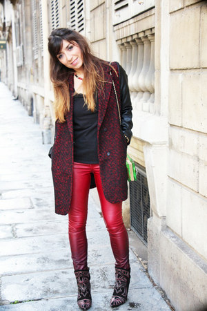 black Isabel Marant boots - brick red rock glamour asos coat