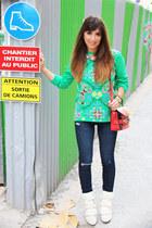 white Isabel Marant boots - navy JBrand jeans - aquamarine asos sweater