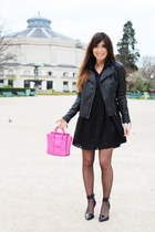 black asos dress - black leather jacket La Redoute jacket - hot pink Celine bag
