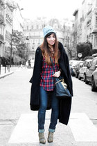 black Topshop coat - tan sam edelman boots - ruby red By Monshowroom shirt