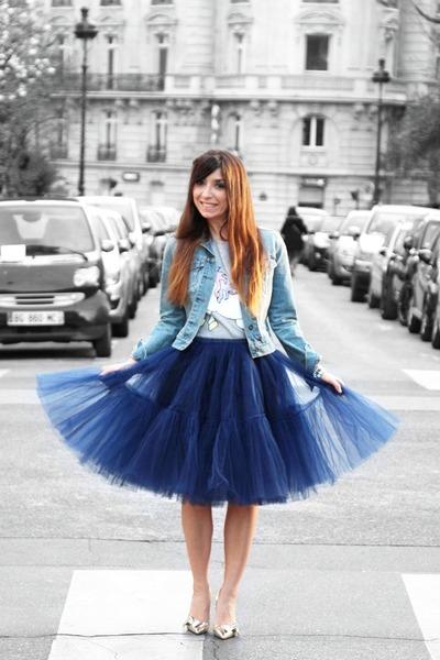 blue asos skirt - light blue jeans asos jacket - ivory asos t-shirt