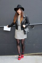 white Topshop dress - black Topshop hat - black Topshop jacket