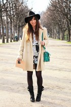 black Laurence Dacade boots - neutral Thomsen coat - black Topshop hat