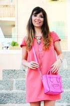 bubble gum clo&se dress - hot pink Celine bag - dark brown Topshop sandals