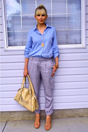 blue zellers shirt - gray Cassis pants - beige army &amp; navy purse - beige winners
