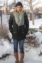 black Garage Clothing coat - blue Sirens jeans - brown Aldo boots - black Lost h