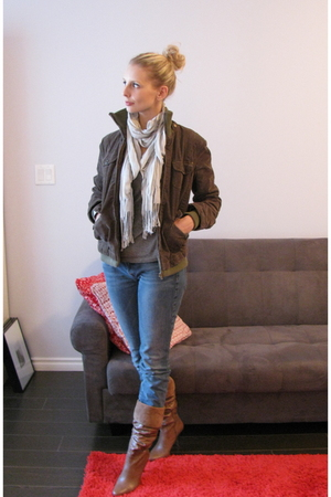 jacket - Charlotte Russe scarf - Gap shirt - Lucky Brand jeans - Aldo boots