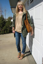 green H & M coat - blue Sirens jeans - beige DOTS top - beige Spring shoes - gol