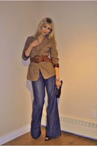brown vintage blazer - blue banana republic pants - brown vintage belt - black A