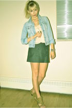 blue thrifted jacket - pink H & M dress - gray Gap skirt - beige Spring shoes -