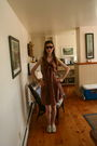Brown-jcrew-dress-brown-urban-outfitters-sunglasses-beige-topshop-shoes