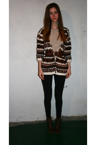 vintage sweater - H&M shirt - American Apparel leggings - vintage boots - H&M be