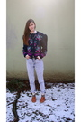 Blue-vintage-sweater-blue-h-m-jeans-brown-urban-outfitters-shoes-gold-h-m-