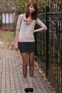 Gray-bershka-dress-tan-suede-mango-bag-tan-flea-market-socks