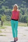 Turquoise-blue-topshop-pants