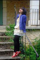ANDRE shoes - H&M jacket - jennyfer leggings - vintage blouse - vintage belt