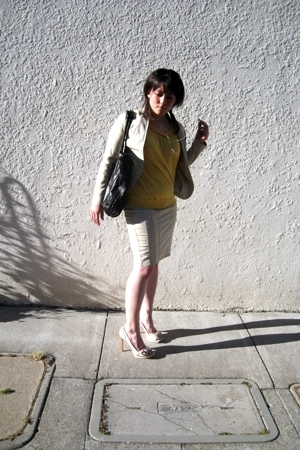 yellow Anthropologie shirt - white Celine shoes