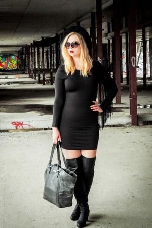 black faux leather allegro boots - black fringe H&M dress - black H&M hat