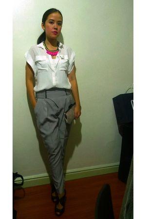 white Zara blouse - gray Zara pants - black Mango shoes - pink Accessorize neckl