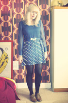 brown brouges Primark shoes - navy vintage The Attic people httpgoogljnXRB dress