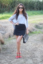 black Topshop skirt - black Zara bag - carrot orange Carvela heels