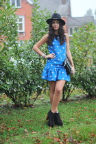 chain detail Zara hat - Jeffrey Campbell boots - Topshop dress