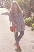 Laocoonte clogs - pull&bear dress - new look leggings - Julieta sin Romeo bag