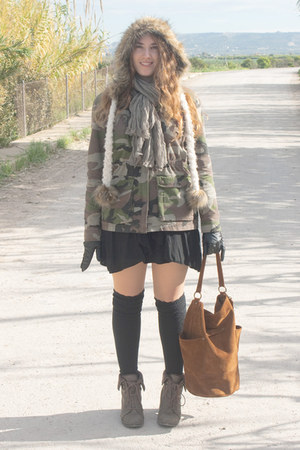 green pull&amp;bear jacket - olive green new look boots - eggshell River Island hat