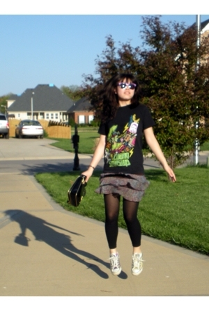 shirt - Wet Seal skirt - Betsey Johnson purse - tights - sunglasses - Converse s
