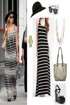 boyfriend watch - striped tank maxi dress - floppy hat - handbag bag