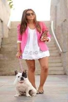 dress - leather nude bag - hot pink cardigan - neutral flats - neutrals glasses