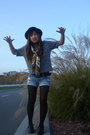 Gray-forever-21-shirt-gold-vintage-scarf-black-h-m-hat-black-payless-shoes