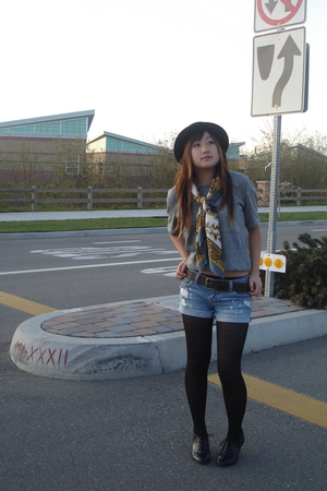 gray Forever 21 shirt - gold vintage scarf - black H&M hat - black payless shoes