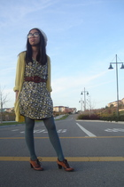 brown Macys shoes - green Anthropologie dress - gold American Eagle cardigan