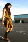 Gold-vintage-dress-black-vintage-purse-black-urban-outfitters-hat-brown-ma