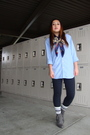Blue-american-eagle-shirt-blue-vintage-scarf-gray-forever-21-shoes