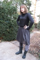 shirt - vintage top - skirt - tights