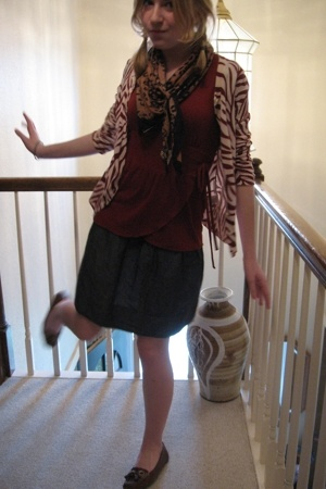 Old Navy sweater - Old Navy top - flea market scarf - forever 21 skirt - Target