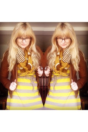yellow Target dress - brown Forever 21 jacket - gold scarf