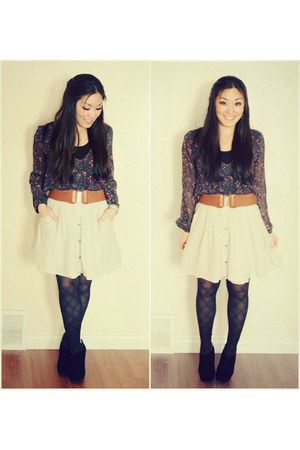 charcoal gray floral PacSun top - black Nine West boots - black Express tights