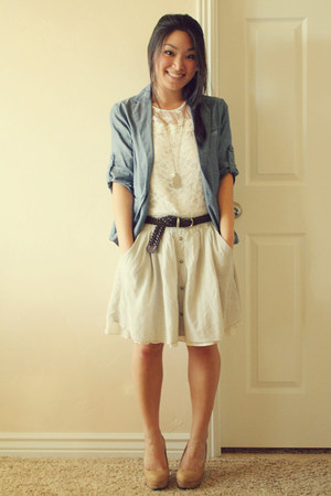 sky blue chambray Japan blazer - beige Forever 21 skirt